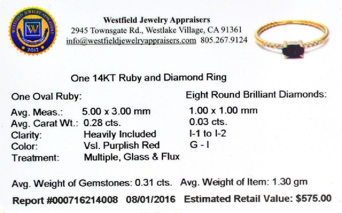APP: 0.6k Fine Jewelry 14KT Gold, 0.31CT Ruby And - 2