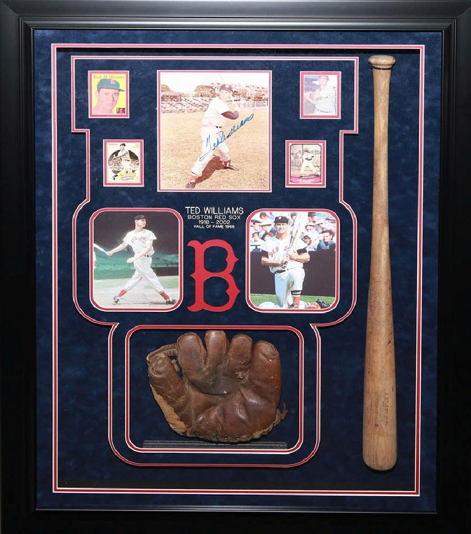 Ted Williams Collage with Bat and Glove