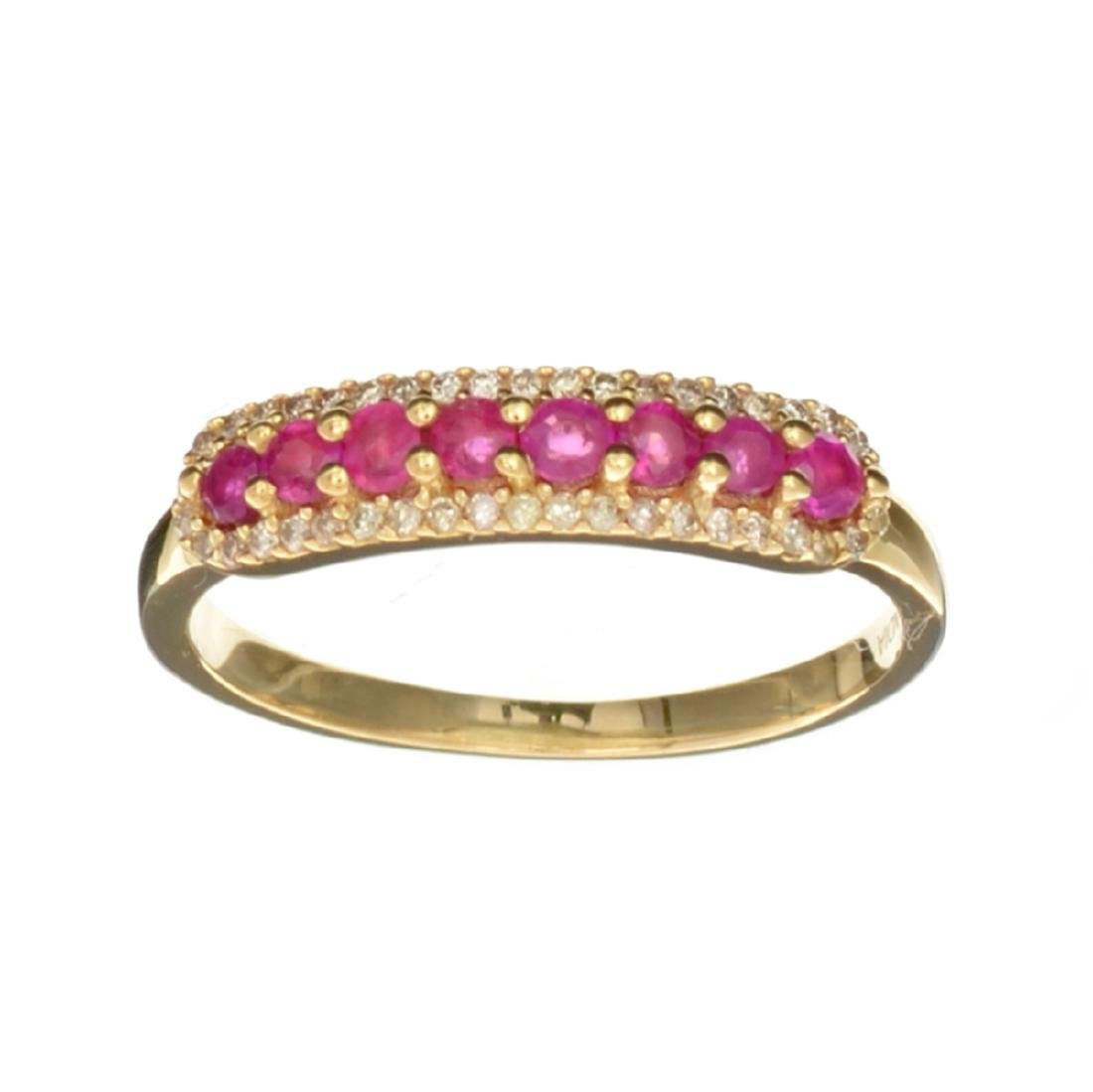 Designer Sebastian 14KT Gold, Round Cut Ruby and 0.11CT
