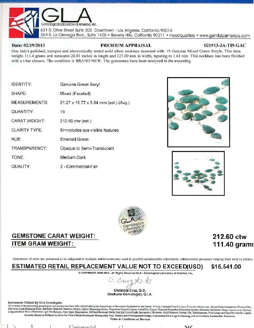 APP: 15.5k 212.60CT Mixed Cut Green Beryl and Sterling