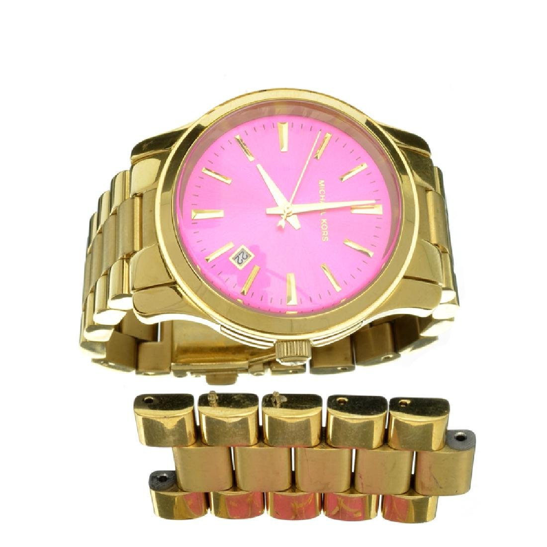Exquiste Michael Kors Gold Tone Pink Dial Stainless