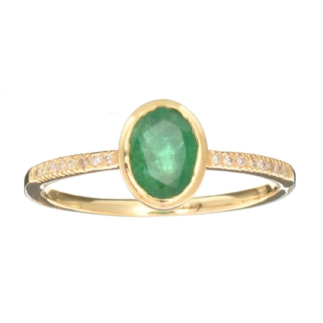 Designer Sebastian 14KT Gold 0.75CT Oval Cut Emerald