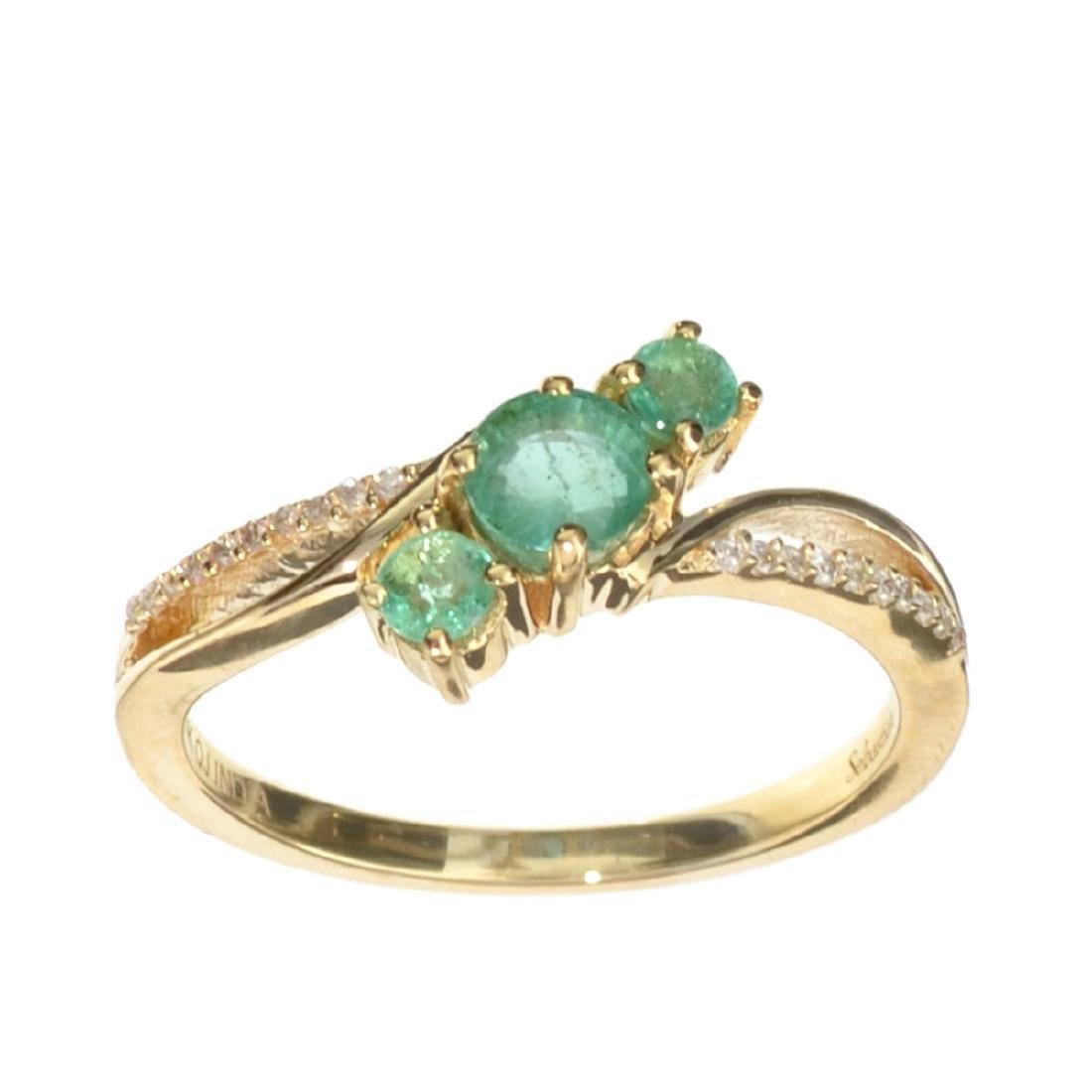 Designer Sebastian 14KT Gold, 0.62CT Round Cut Emerald