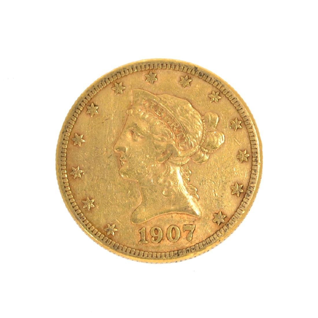 *1907-S $10 U.S. Liberty Head Gold Coin (DF)