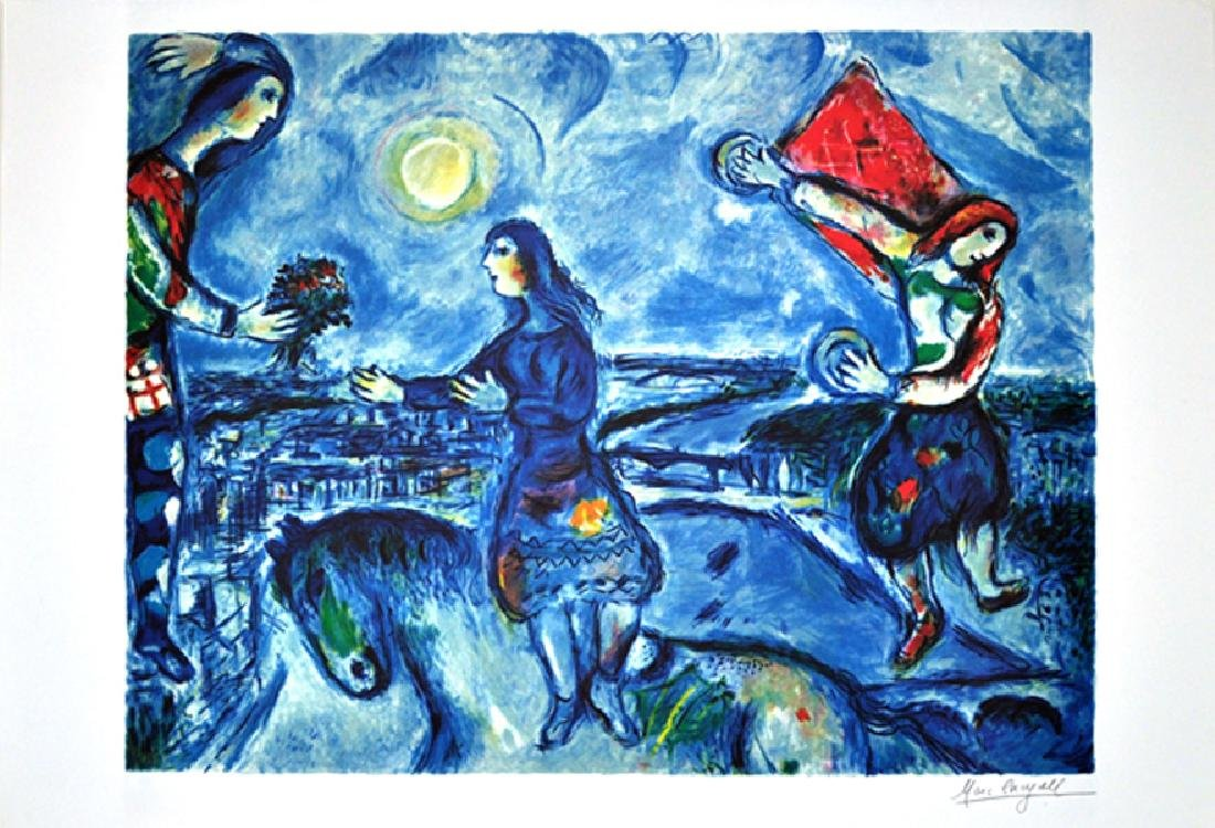 MARC CHAGALL (After) Lovers Over Paris Print, I7 of 500