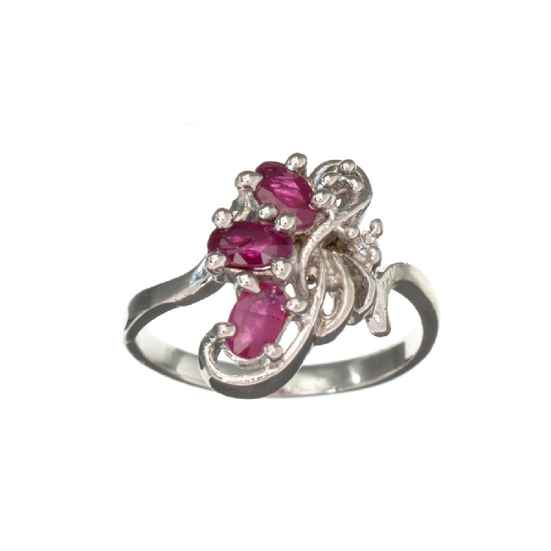 APP: 0.9k Fine Jewelry 0.75CT Ruby And Topaz Platinum