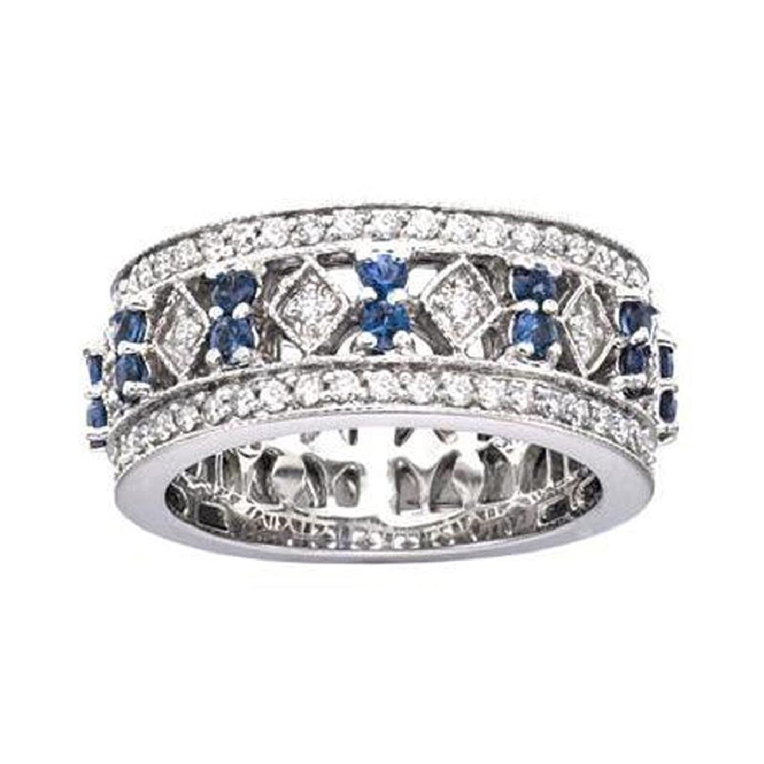 *Fine Jewelry, 14KT White Gold, 0.77CT Sapphire And