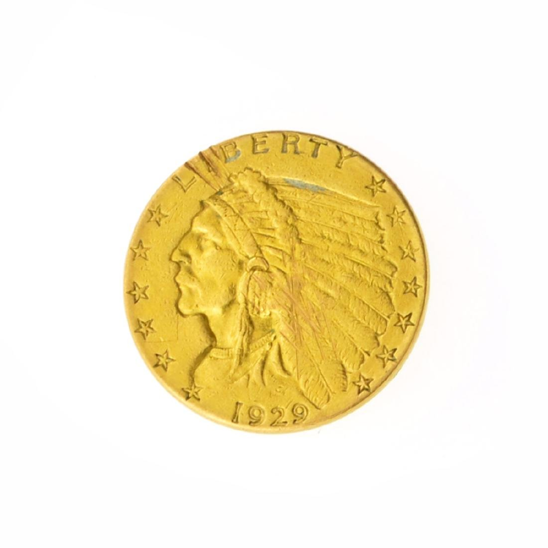 *1929 $2.50 U.S. Indian Head Gold Coin (JG)
