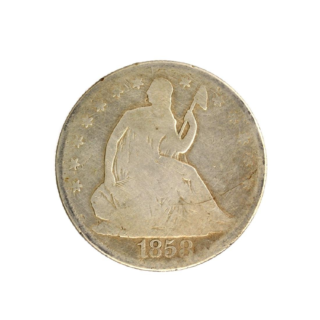 1858 Liberty Seated Half Dollar Coin