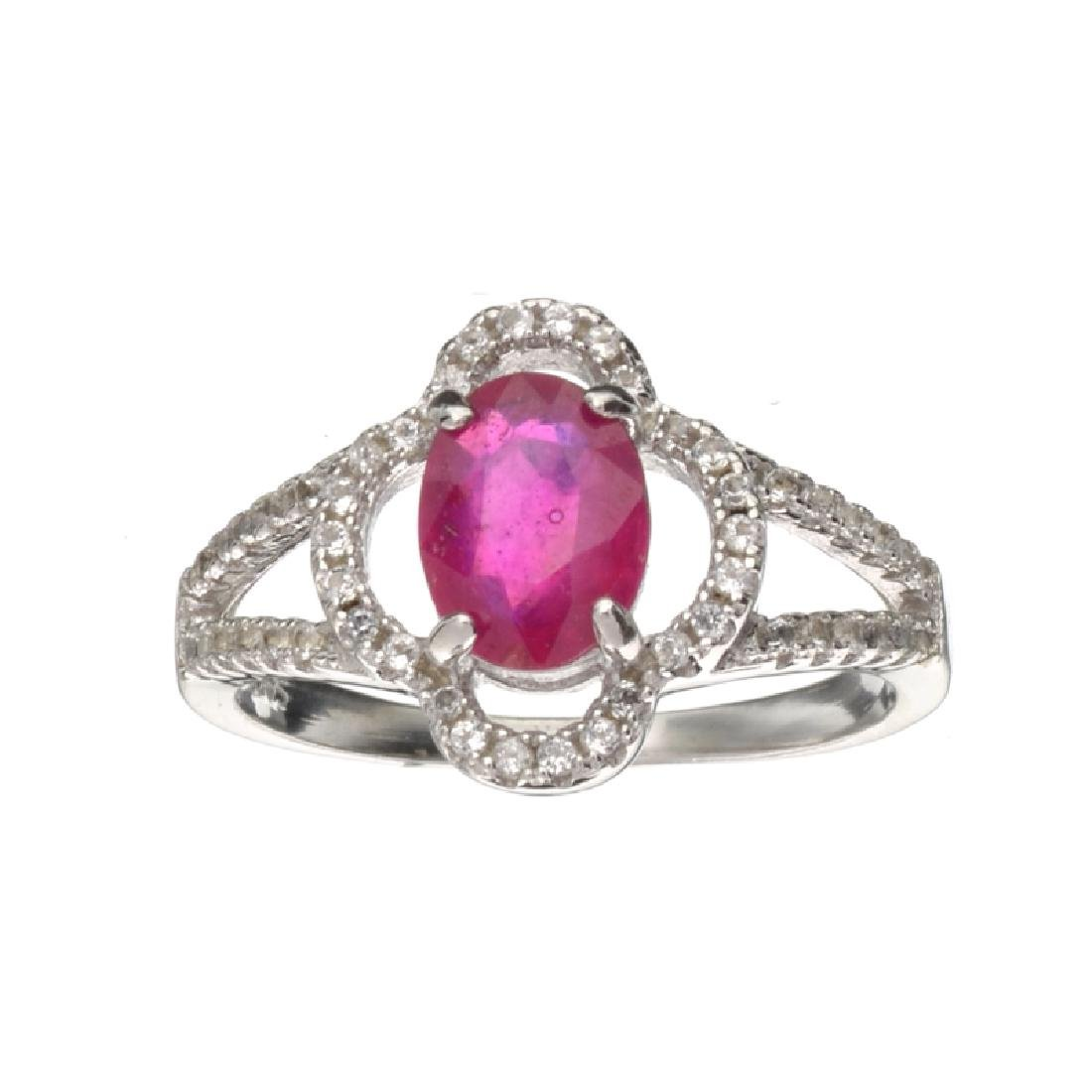 APP: 0.7k Fine Jewelry 0.88CT Ruby And Colorless Topaz