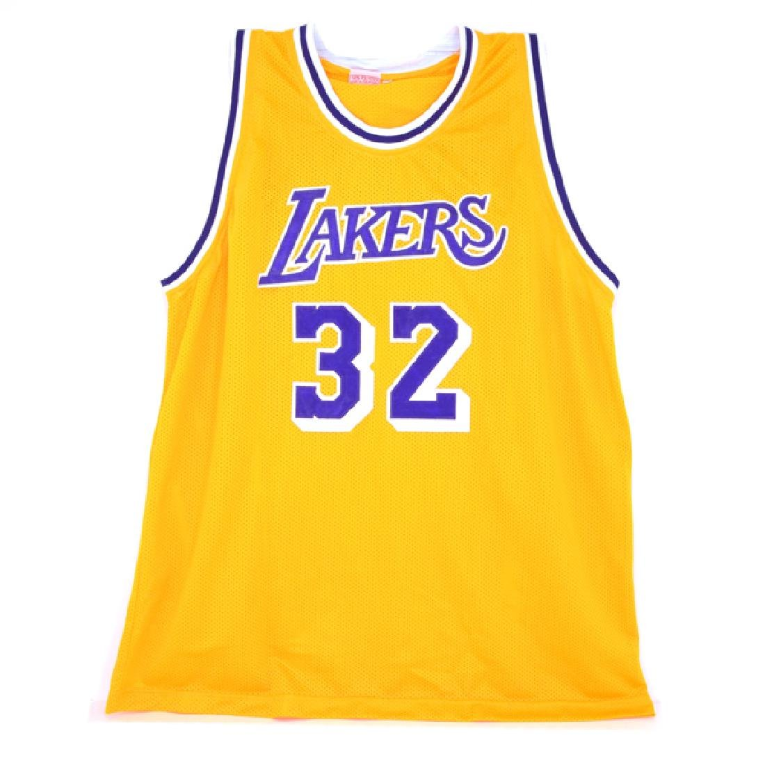 Very Rare Magic Johnson Signed Lakers Jersey