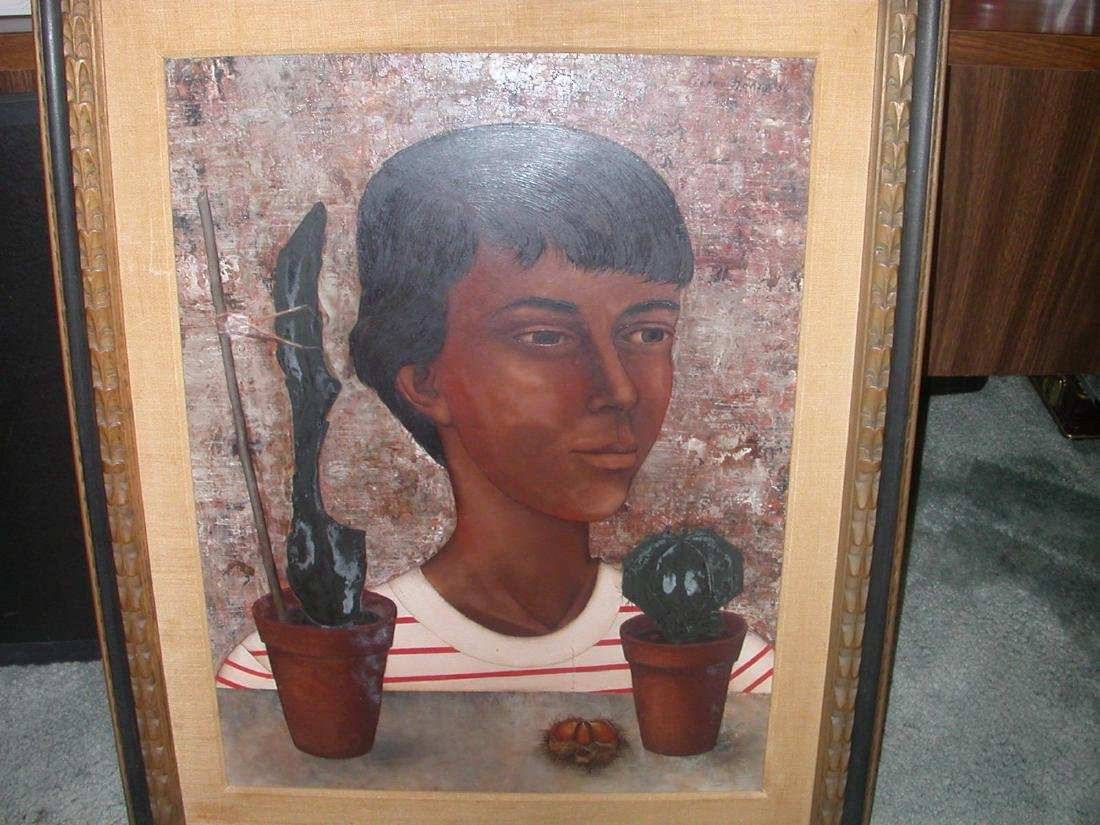 Extremely Rare Pierre Henry, Child And Cactus, 1956 Oil