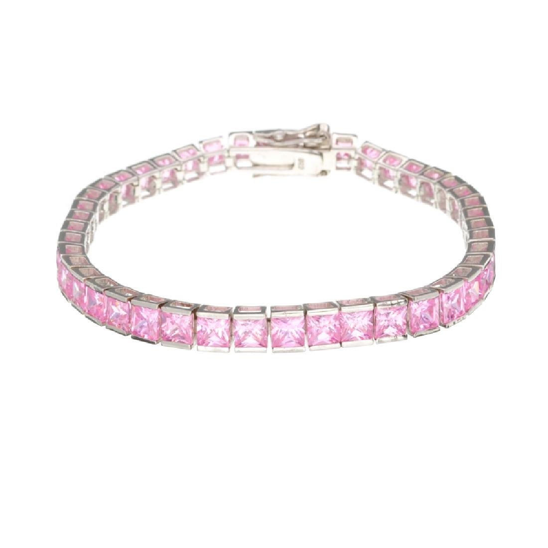 Platinum Over Sterling Silver Fancy Pink French Cubic