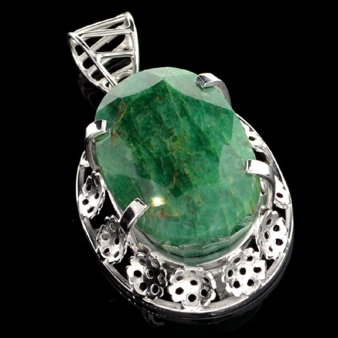 APP: 2.3k 61.37CT Oval Cut Green Beryl and Sterling