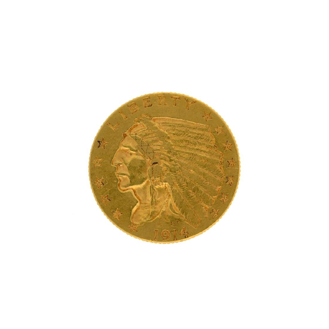 *1914-D $2.5 Indian Head Gold Coin (DF)