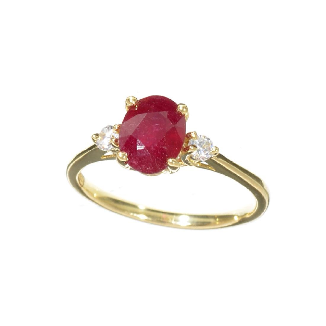 APP: 1k Fine Jewelry 14KT Gold, 1.53CT Ruby And White