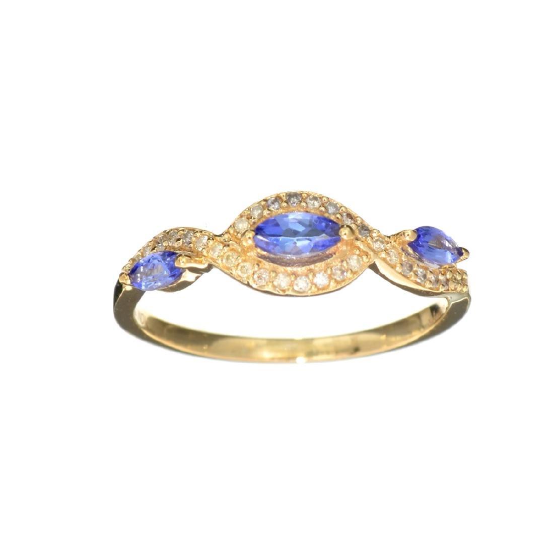 Designer Sebastian 14KT Gold Marquise Cut Tanzanite and
