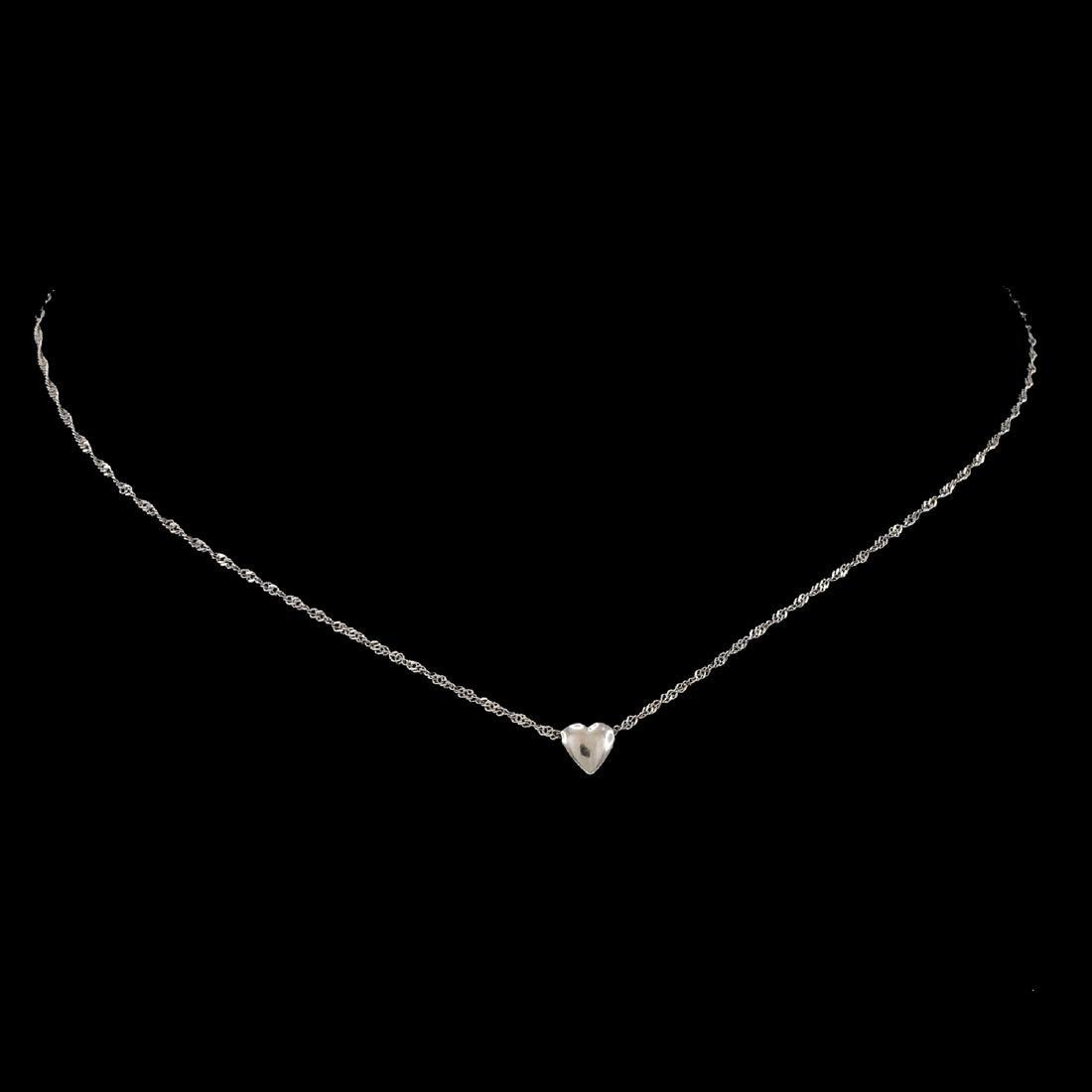*Fine Jewelry 14KT White Gold Singapore W Puffed Heart