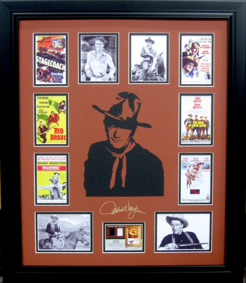 John Wayne Engraved Signature with Authentic Swatch of