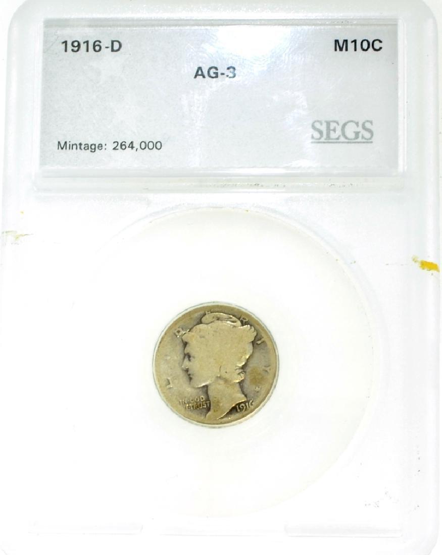 1916-D AG-3 SEGS Mercury Dime Coin