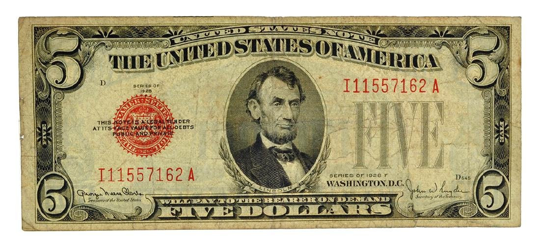 1928 $5 U.S. Red Seal Note