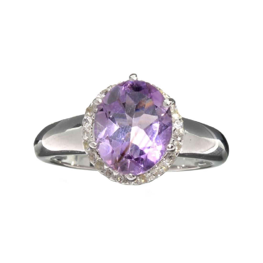 Fine Jewelry 2.39CT Purple Ametyst Quartz And Colorless