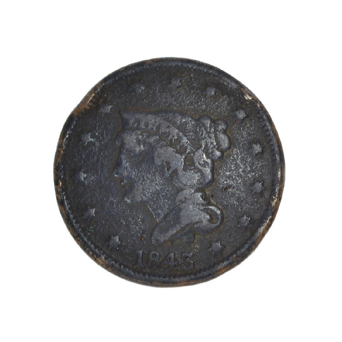 Rare 1843 Large Cent Coin
