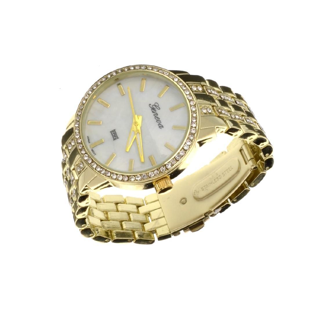 Elegant Design, Geneva Stainless Steel Round Watch