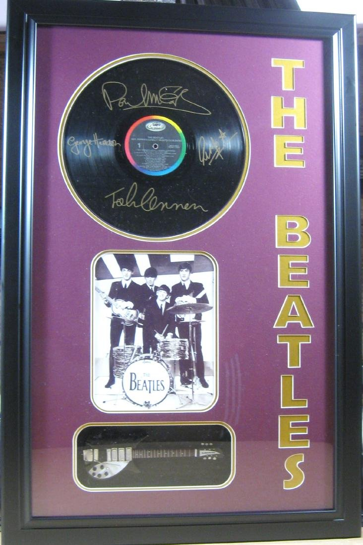 Beatles Engraved Vinyl & Guitar - Plate Signatures