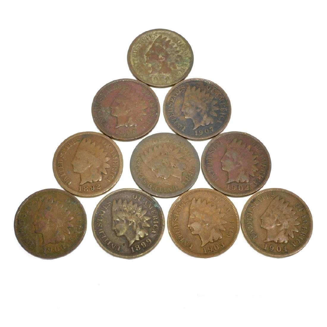 10 Indian Head One Cent Coins