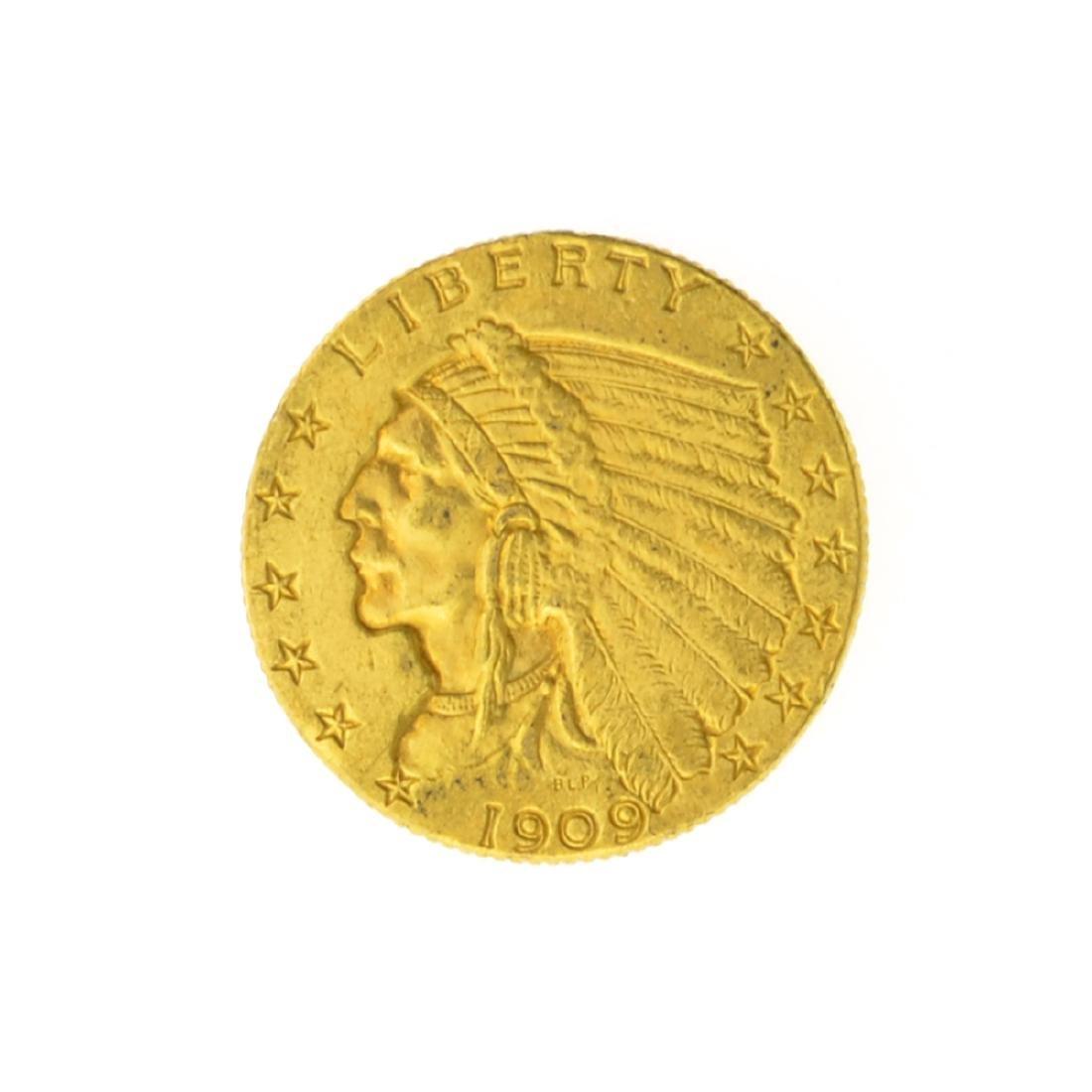 *1909 $2.50 U.S. Indian Head Gold Coin (JG)