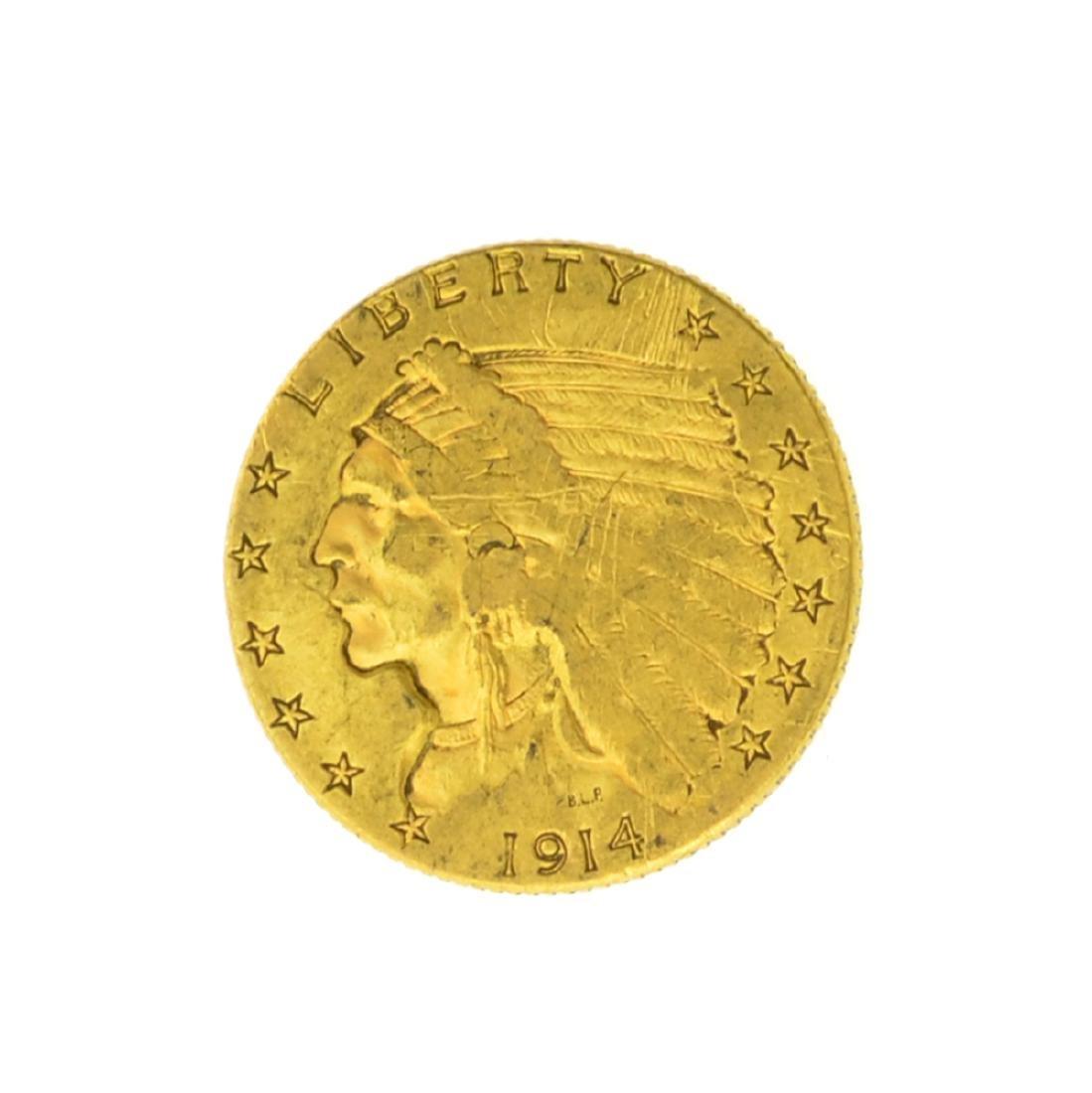*1914 $2.50 U.S. Indian Head Gold Coin (JG)
