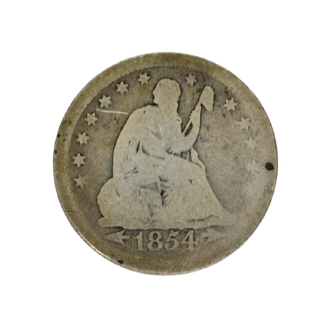1854 Liberty Seated Arrows At Date Quarter Dollar Coin