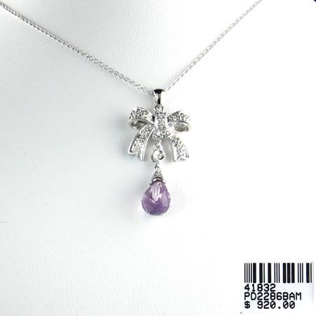 808: 14 kt. White Gold, Amethyst and Diamond Necklace,