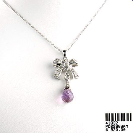 813: 14 kt. White Gold, Amethyst and Diamond Necklace,