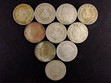 822: GOV: 10 US Liberty Head Nickels-Various years Coin