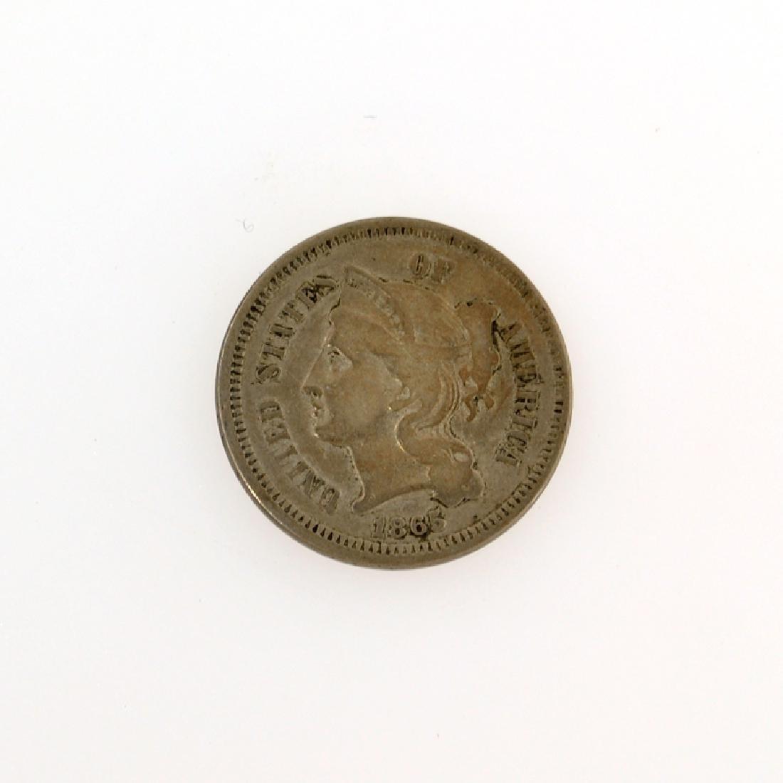 1865 Three Cent Piece Nickel Coin