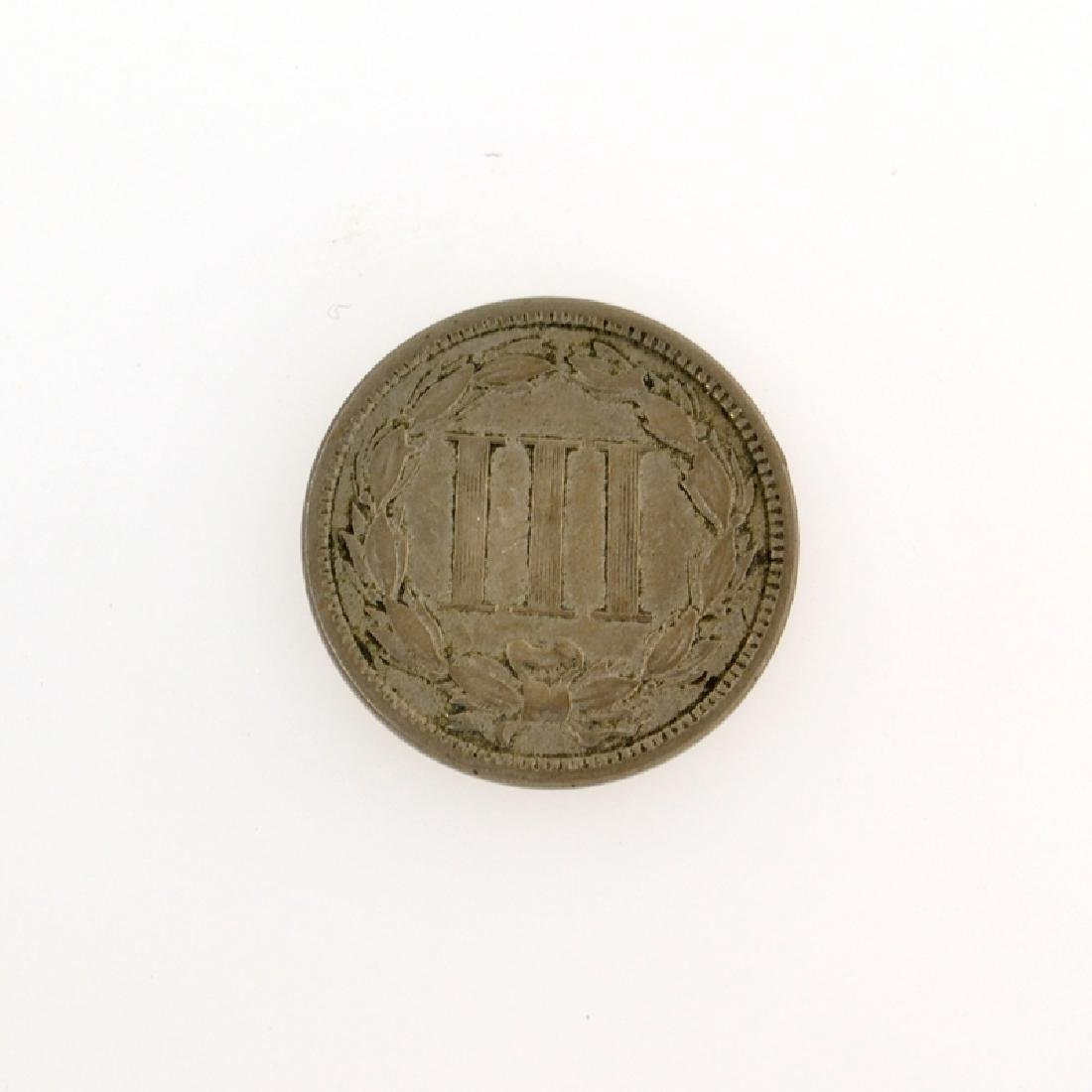 1865 Three Cent Piece Nickel Coin - 2