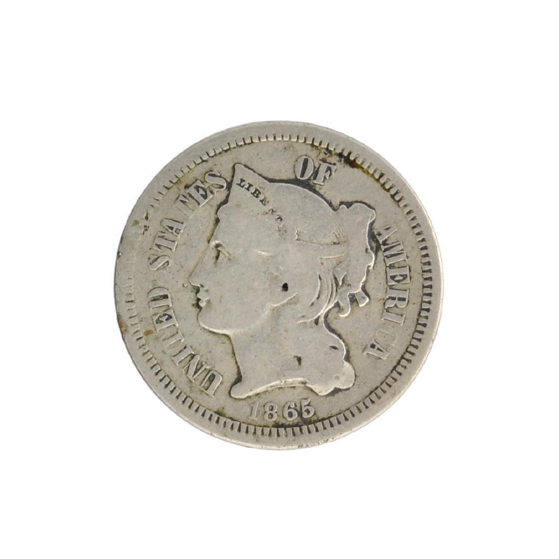 1865 Three-Cent Nickel Coin