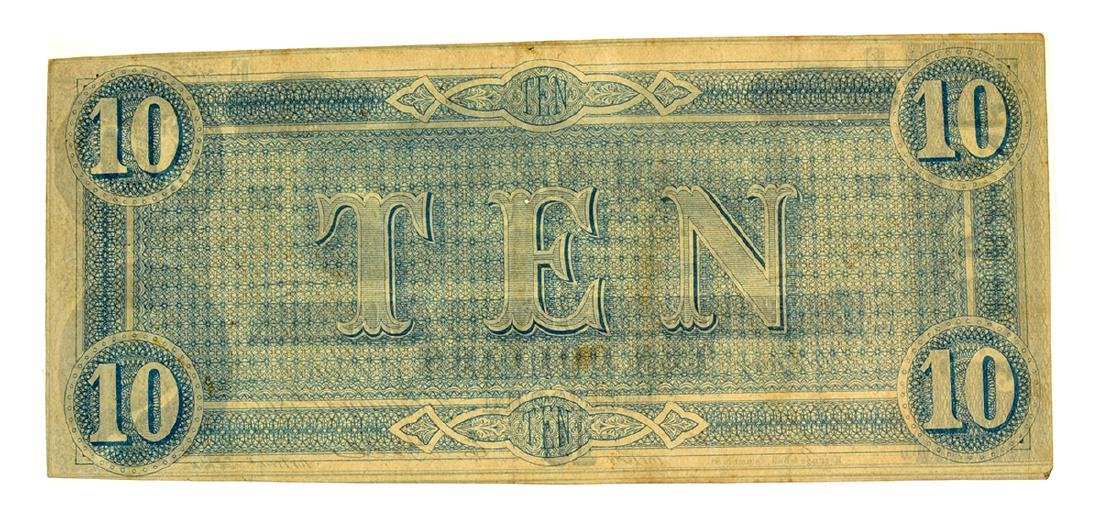 Rare 1864 $10 U.S. Confederate Note - 2