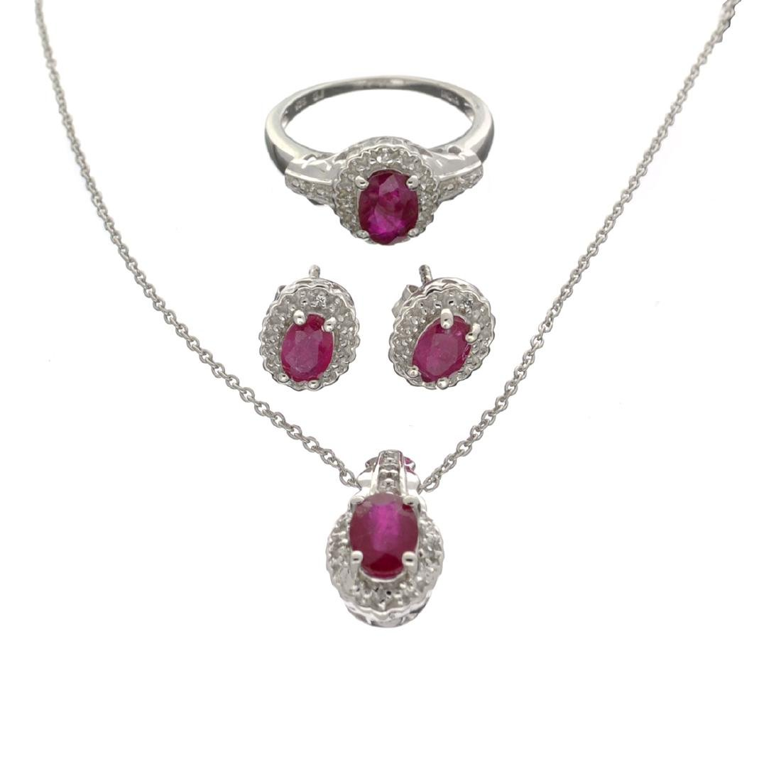Fine Jewelry 3.18CT Ruby / White Topaz And Sterling