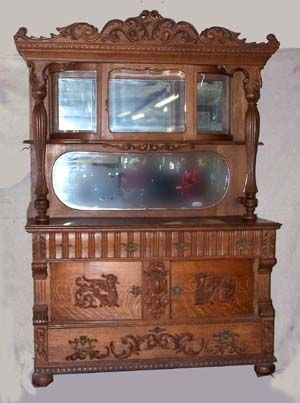2: Oak China buffet with Carved Crest