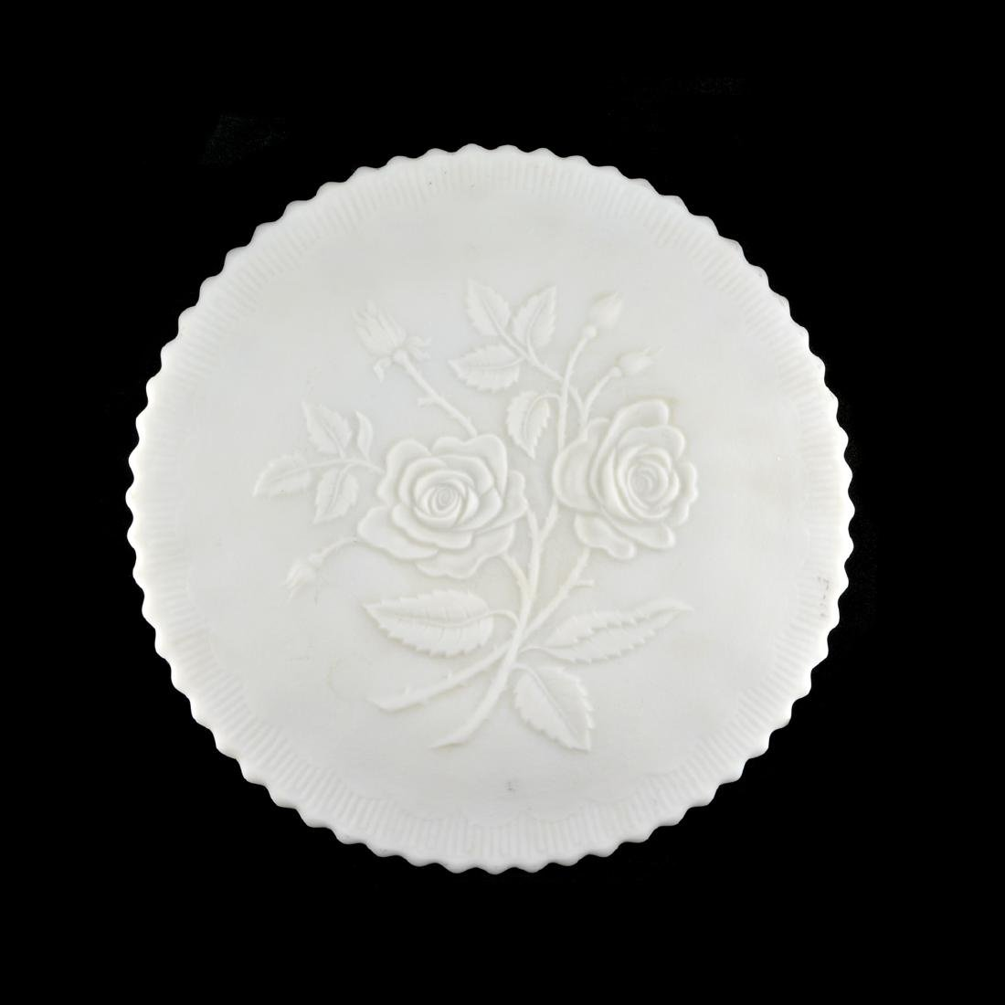 Vintage 9' Satin Double Rose Footed Plate