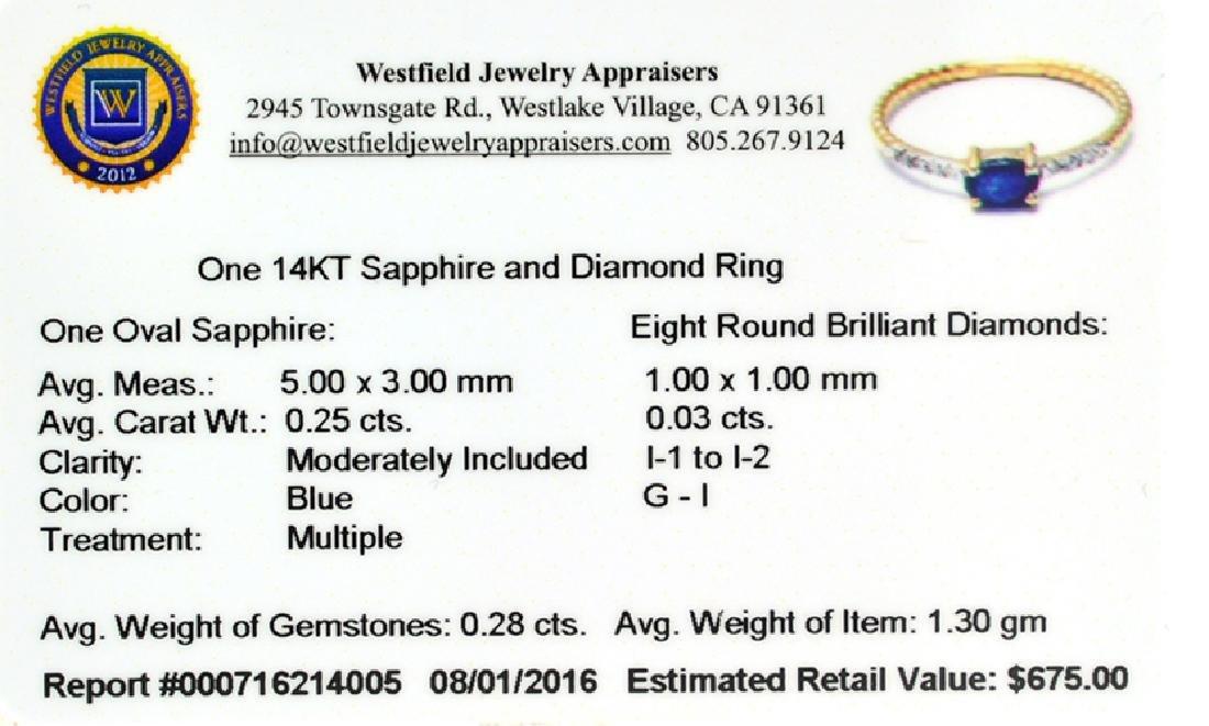 APP: 0.7k Fine Jewelry 14KT Gold, 0.28CT Blue Sapphire - 2