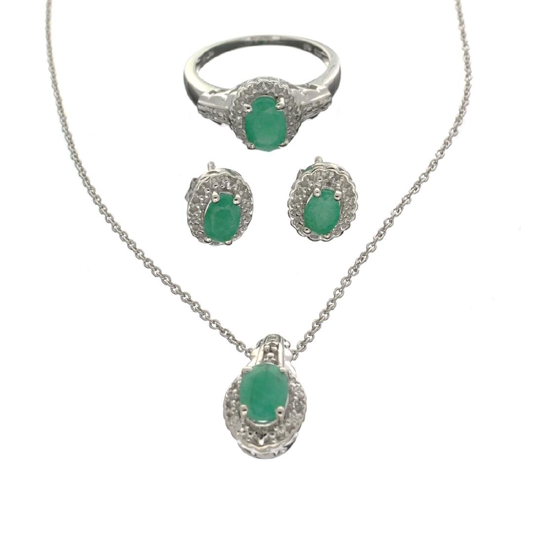 Fine Jewelry 2.23CT Emerald  / White Topaz And Sterling