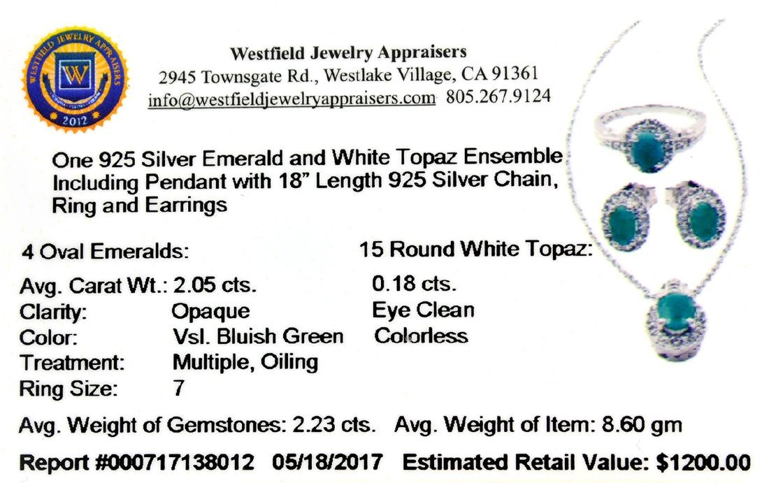 Fine Jewelry 2.23CT Emerald  / White Topaz And Sterling - 2