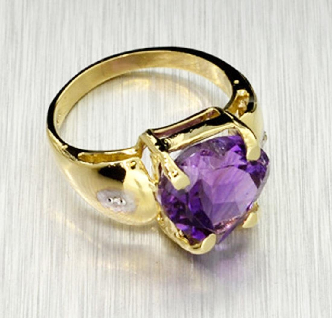 14 kt. Yellow and White Gold, 5.87CT Amethyst Ring