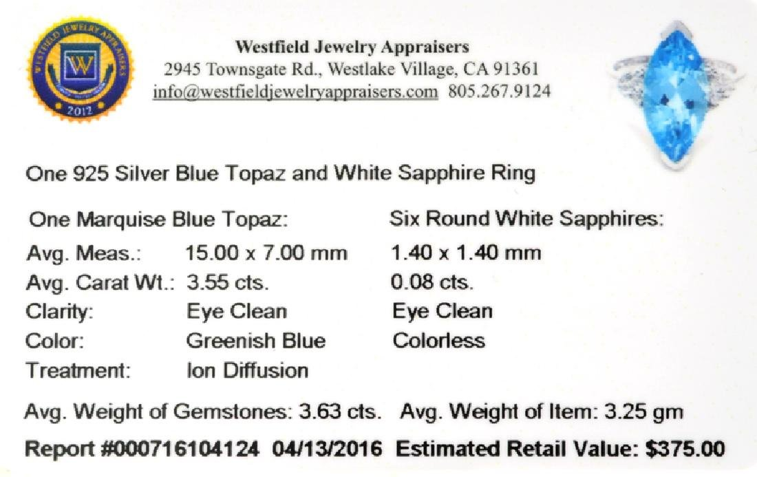 APP: 0.4k Fine Jewelry 3.63CT Blue Topaz And White - 2