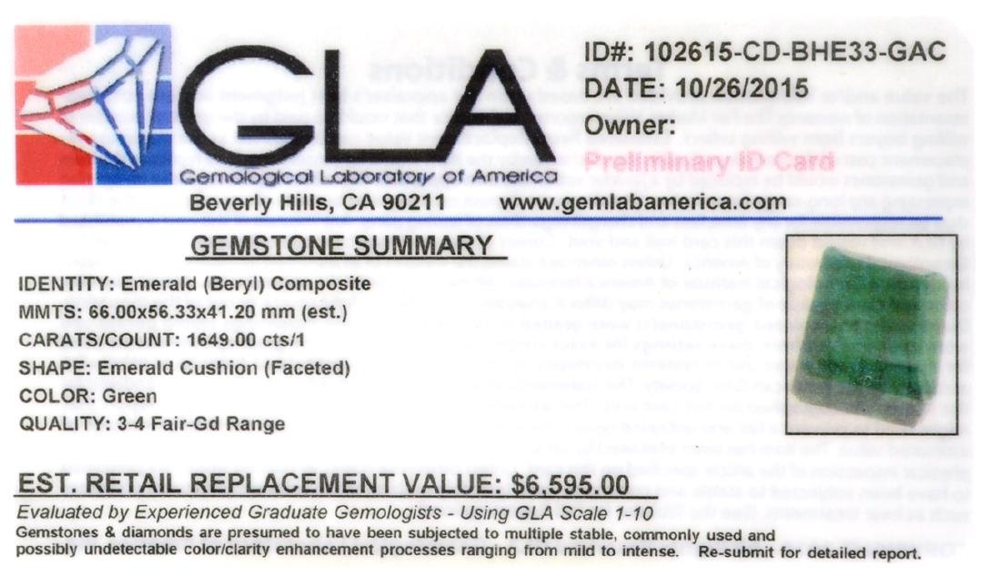 APP: 6.6k 1,649.00CT Emerald Cushion Cut Green Beryl - 2