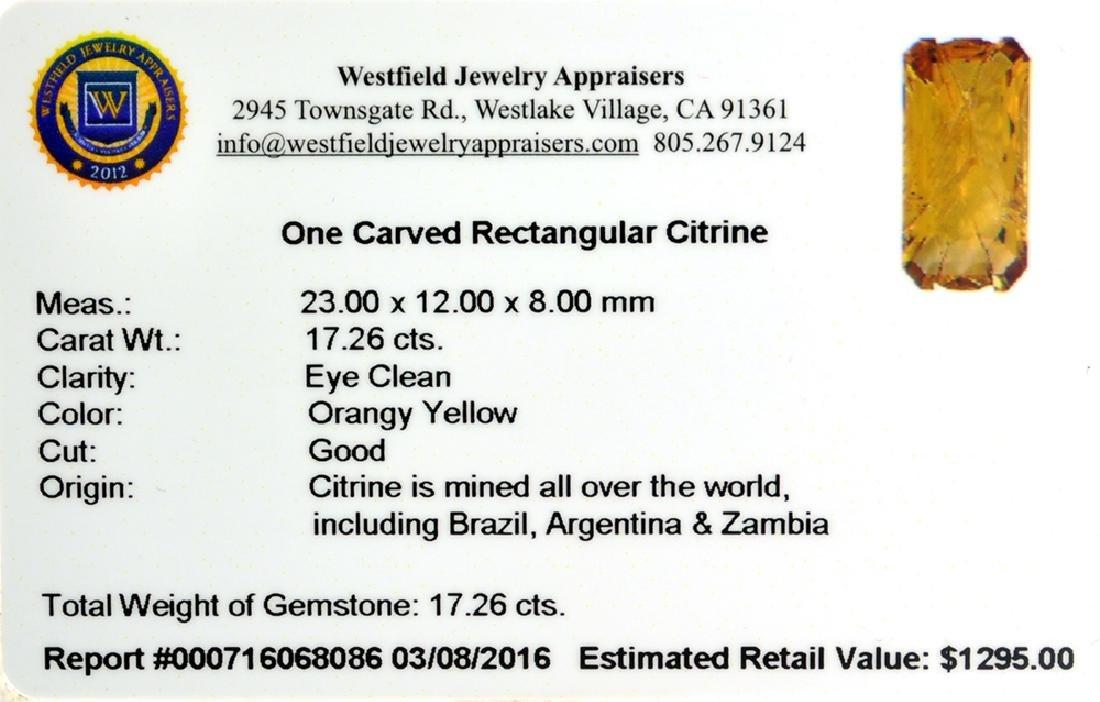 APP: 1.3k 17.26CT Carved Rectangular Cut Citrine - 2
